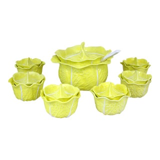 Vintage Soup Tureens Majolica Secla Yellow Cabbage W/ Ladle and Lidded Soup Bowls - Set of 8 For Sale