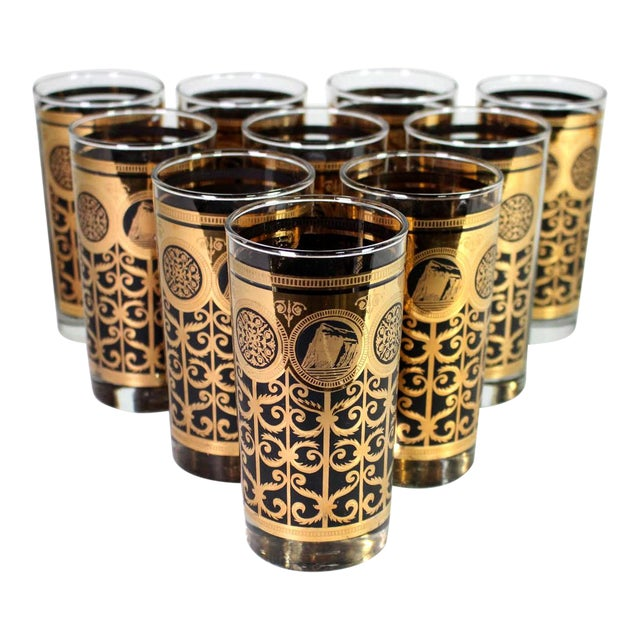 1960's Fred Press Mid-Century 22k Gold & Black Highball Martini Collins Glasses - Set of 10 For Sale