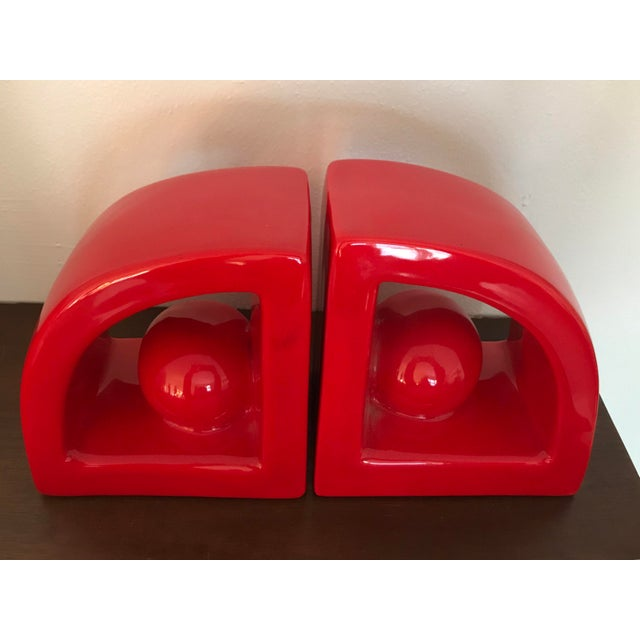 Funky ceramic bookends produced by Jaru of California. Both pieces are in excellent vintage condition, free of chips,...