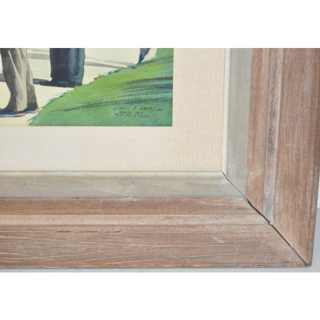 """Wood 1950s Vintage """"Naples, Italy with the 6th Fleet"""" Original Watercolor by Louis Kaep For Sale - Image 7 of 8"""