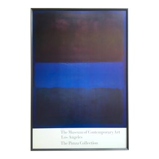 "Mark Rothko Rare Vintage 1988 Lithograph Print Large Framed Abstract Expressionist Museum Poster "" Brown, Blue, Brown on Blue "" 1953 For Sale"