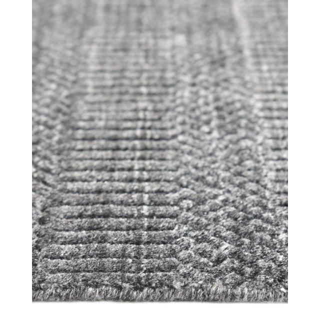 Sanam, Contemporary Solid Hand Loomed Area Rug, Dark Gray, 5 X 8 For Sale In New York - Image 6 of 9