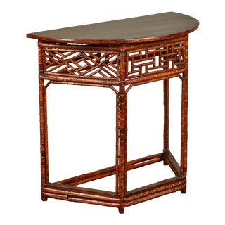 Chinese Bamboo Half Moon Table W/ Black Top For Sale