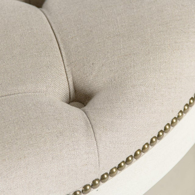 French Country Edmonds Ottoman in Natural Linen For Sale - Image 3 of 5
