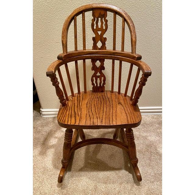 Vintage English Windsor Oak Childrens Rocking Chair For Sale In Portland, OR - Image 6 of 6