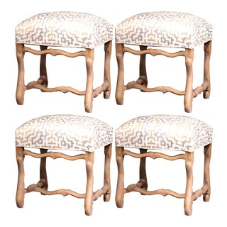 Set of Four 19th Century French Louis XIII Carved Stools with Whitewash Finish