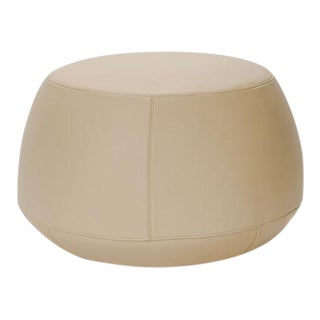 Cream Italian Leather Round Ottoman, Bensen For Sale