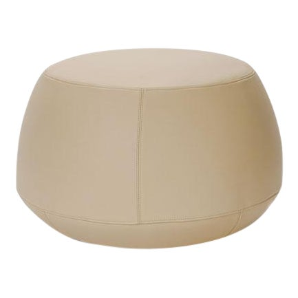 Cream Italian Leather Round Ottoman, Bensen For Sale