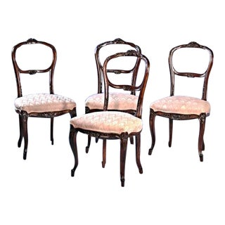 19th C Walnut Rococo Revival Dining Chairs - Set of 4