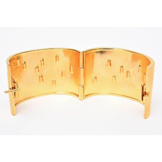 Paloma Picasso Glass and Ribbed Gold Filled Cuff Bracelet For Sale In Miami - Image 6 of 9