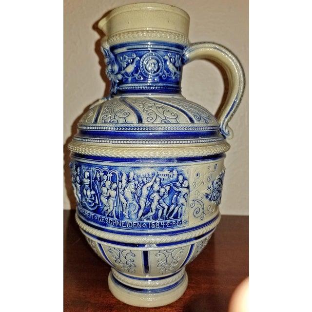 """White 1584 Flemish Salt Glazed Pottery Beer Ewer """"Story of Susanna"""" After Engel Kran For Sale - Image 8 of 13"""