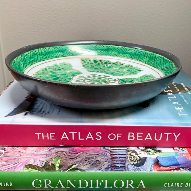 Vintage Green & White Porcelain Bowl / Catchall Encased in Pewter For Sale - Image 4 of 7