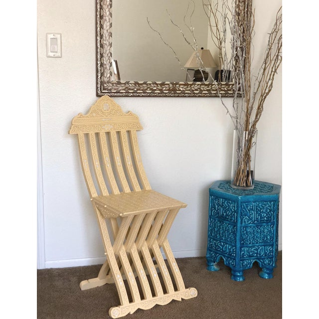 Contemporary Moroccan Style Hand Carved With Touch of Mother of Pearl Inlay Folding Chair For Sale - Image 3 of 9