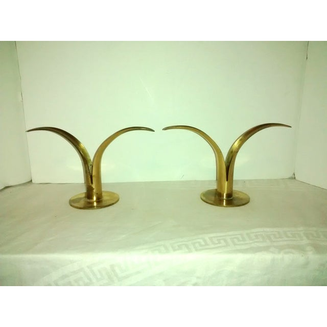 Mid-Century Brass Lily Candleholders - A Pair - Image 4 of 7