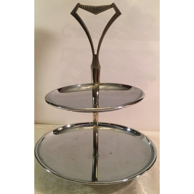 Vintage Chromex Mid Century Modern 2 Tier Serving Tray - Image 2 of 9