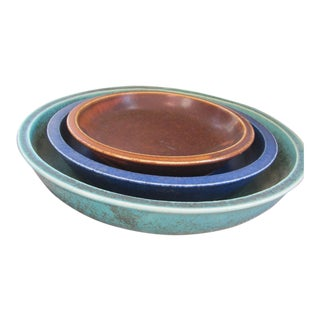 20th Century Rustic Saxbo Eva Staehr Nielsen Ceramic Nesting Bowls - Set of 3 For Sale