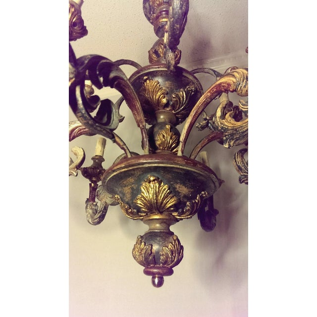 Large Antique Painted/Gilt Gesso & Wood 12-Light Italian Chandelier For Sale - Image 4 of 6