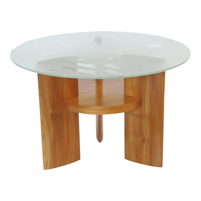 Art Deco Coffee Table Saint Gobain Glass-Top Aviation Decor For Sale