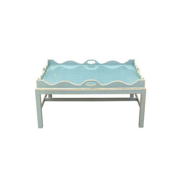 Glass Shabby Chic Lexington Scalloped Cocktail Tray Table For Sale - Image 7 of 7
