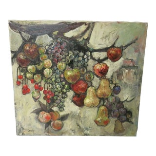 1950s Abstract Fruit Oil Painting Signed j.r. Kennedy For Sale