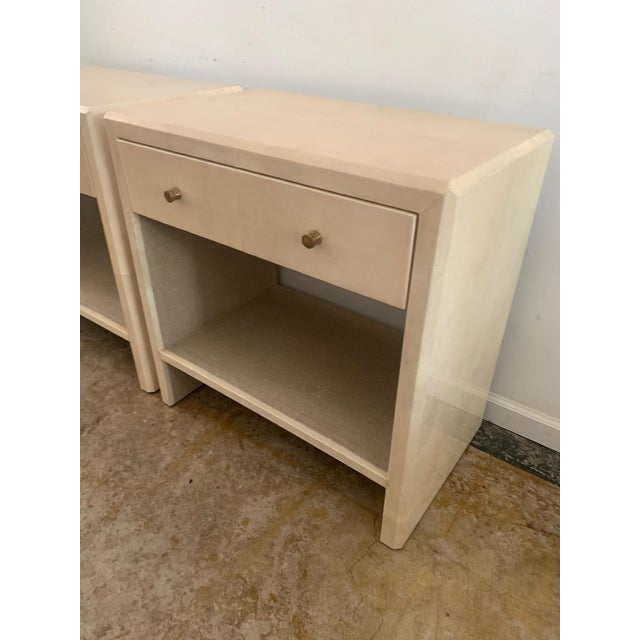 Polished Faux Vellum Nightstands From Made Goods - a Pair For Sale - Image 9 of 13