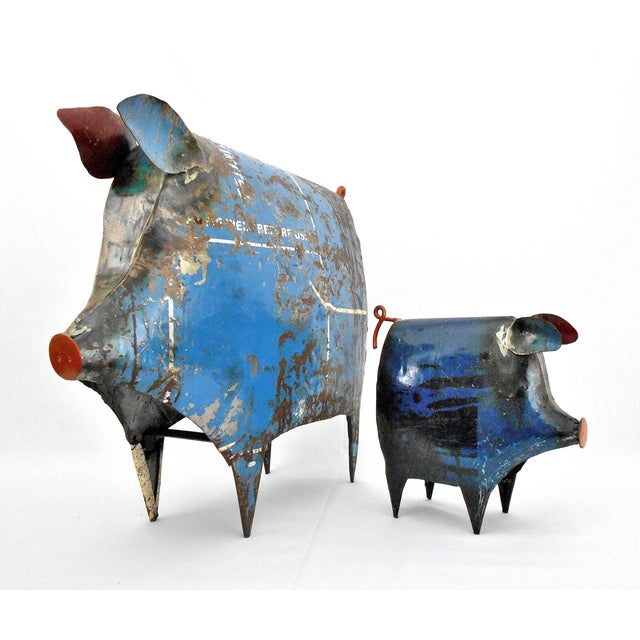 Recycled Metal Pig Sculptures - a Pair - Image 2 of 8