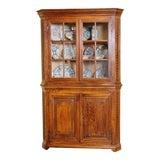 Image of Antique Oak Corner Cabinet For Sale