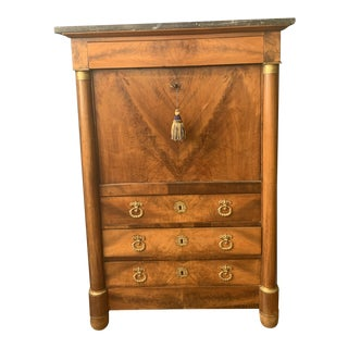 19th Century French Empire Flame Mahogany Drop Front Secretary For Sale
