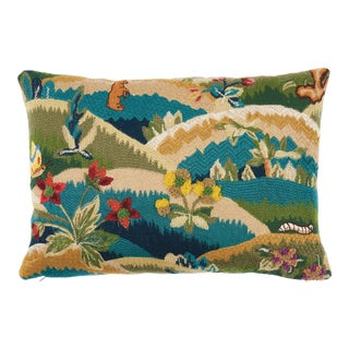 Schumacher Gerry Embroidery Pillow in Document For Sale