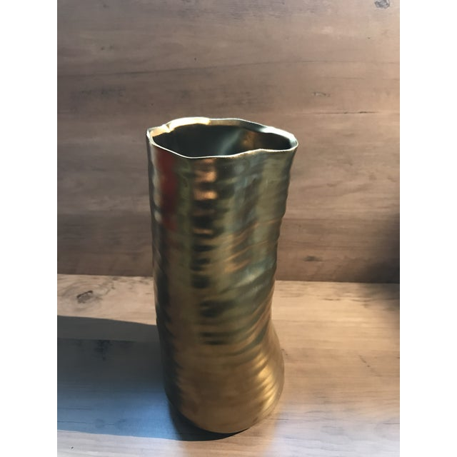 Abstract Mid Century Modern Bronzed Ceramic Vase For Sale - Image 3 of 7