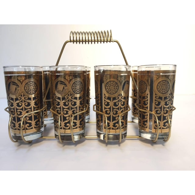 Vintage Eight Highball Black and Gold Glasses in a Brass Cart by Fred Press For Sale - Image 10 of 10