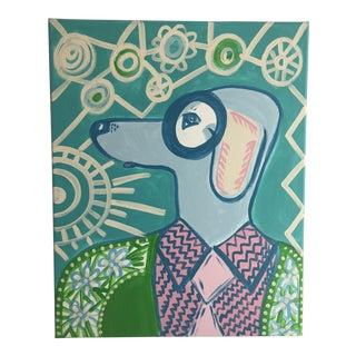 "Anastasia George ""Palm Beach Blue Dog"" Original Acrylic Dog Painting For Sale"