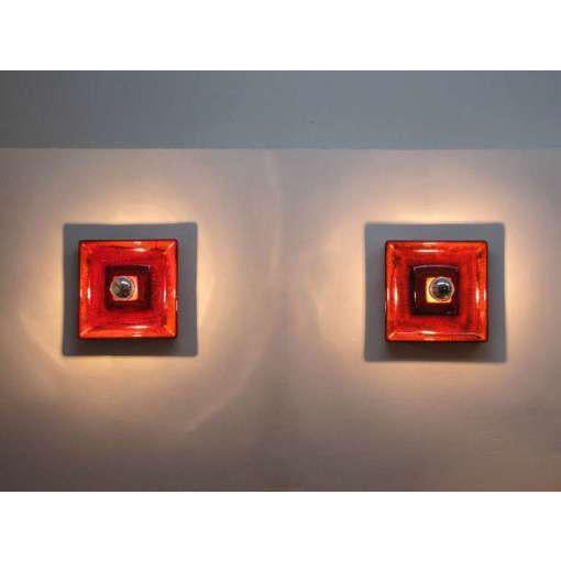 Ceramic Red Ceramic Wall Sconces - A Pair For Sale - Image 7 of 9