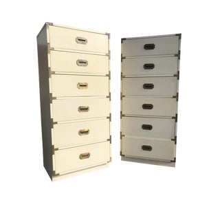 Vintage Tall Campaign Dressers - a Pair