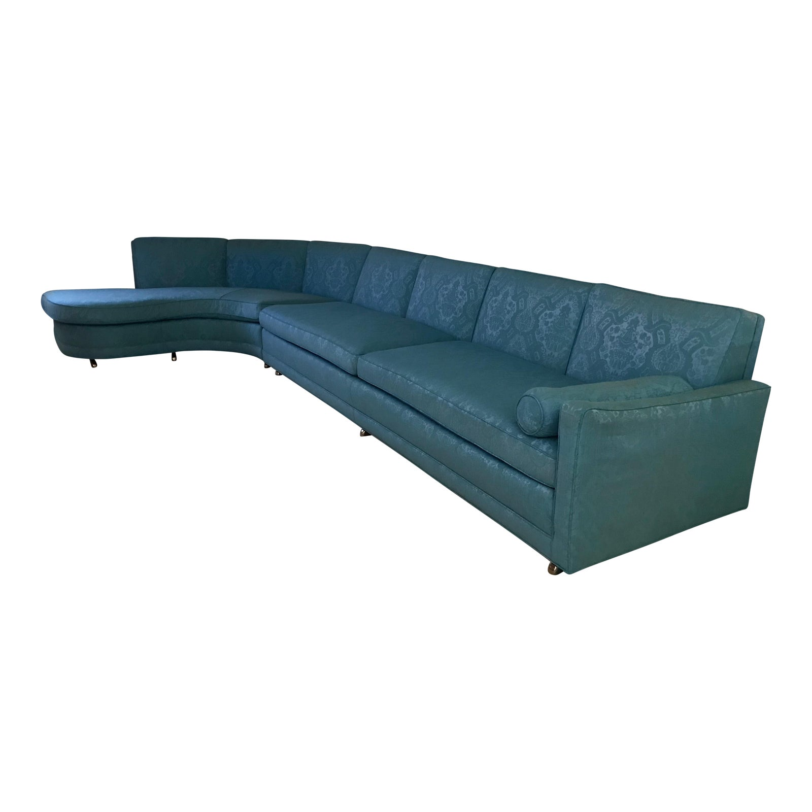 Erin lambeth mid century teal sectional sofa chairish