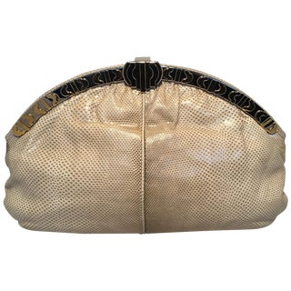 Judith Leiber Vintage Beige Lizard Oversized Clutch For Sale