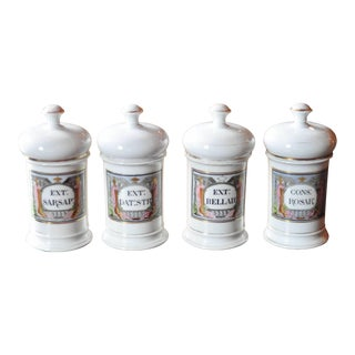 Late 19th Century French Louis Philippe Apothecary Jars - Set of 4 For Sale