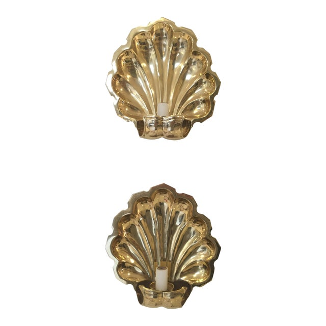 Brass-Plate Shell Wall Sconces - A Pair - Image 1 of 4