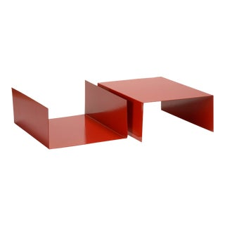 Pair of 1960s Aluminum Paper Trays or Bookends Refinished in Red For Sale
