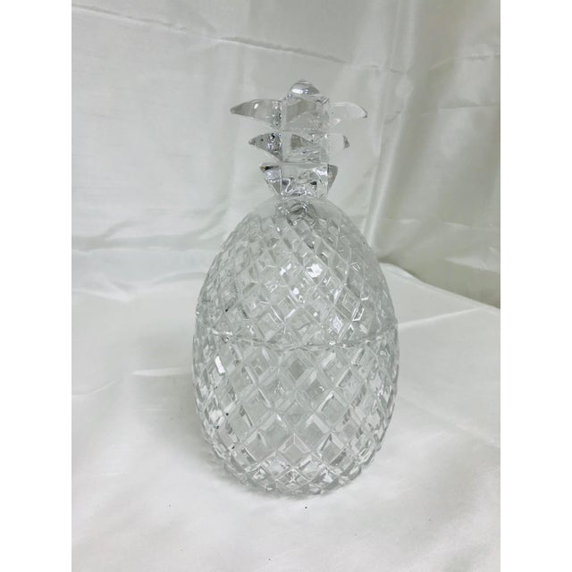Glass 1970s Hollywood Regency Large Glass Pineapple With Lid For Sale - Image 7 of 7