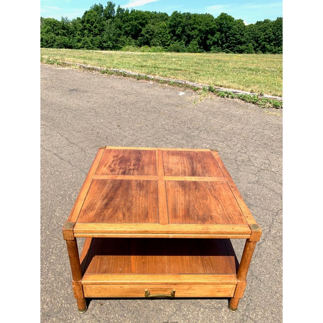 1960s Drexel Heritage walnut side table with drawer. Beautiful details in top inlay and side burls. Scuffs and wear...