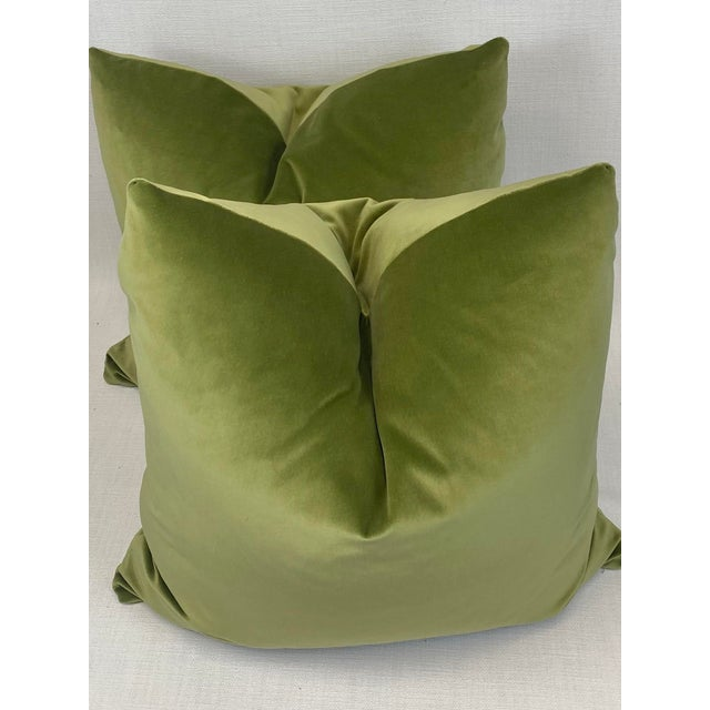 "Transitional Leaf Green Velvet 22"" Pillows-A Pair For Sale - Image 3 of 5"