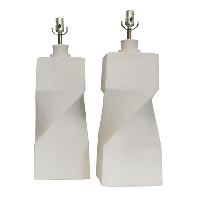 Pair of Architectural Plaster Lamps For Sale