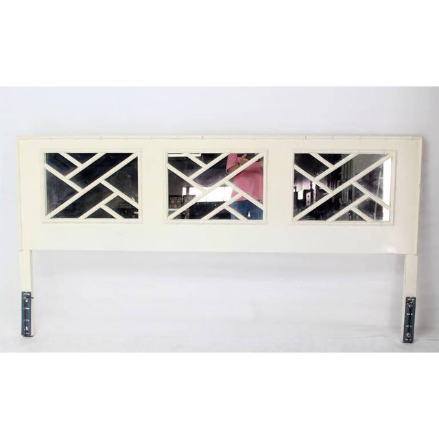 Faux Bamboo Mid Century Modern White Lacquer King Size Headboard Mirrored Back For Sale - Image 4 of 4