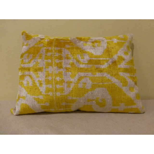 Yellow Silk and Cut Velvet Pillow - Image 2 of 7