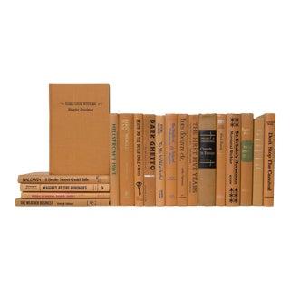 Midcentury Caramel Book Set - Set of 20 For Sale