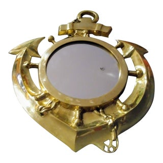 Vintage Brass Small Anchor Nautical Wall Mirror For Sale