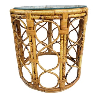 Vintage Boho Chic Bamboo Side Table For Sale