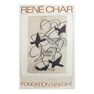 1971 Originale French Exhibition Poster, Rene Char at Fondation Maeght (Orange) For Sale