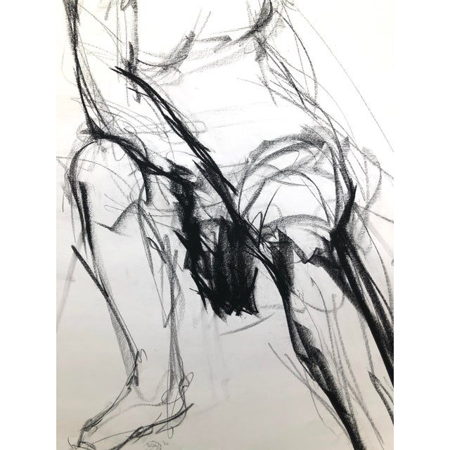 """White """"Seated Shifting Figure"""", by Artist David O. Smith - Scale Contemporary Figure Drawing in Charcoal For Sale - Image 8 of 12"""